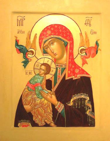 Russisk ikon af Maria og Jesus